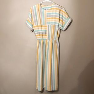 Leslie Fay | Vintage Midi Dress Striped Sz 8